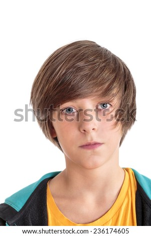 closeup portrait of a teenage boy, isolated on white - stock photo