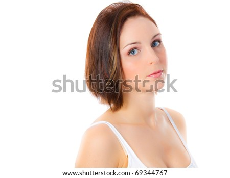 Closeup portrait of a thoughtful woman looking at you - stock photo