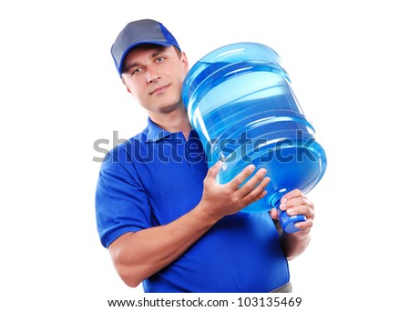Closeup portrait of a water delivery courier on a  white background - stock photo