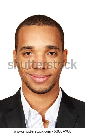 Closeup portrait of a young african-american businessman isolated on white background - stock photo