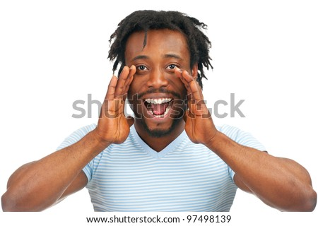 Closeup portrait of a young african american man screaming out loud, isolated on a white background - stock photo