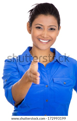 Closeup portrait of a young, beautiful, smiling business woman, student, customer service agent giving you handshake, isolated on white background. Positive human emotions, feelings, face expressions - stock photo