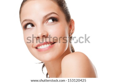 Closeup portrait of a young brunette beauty with healthy perfect skin. - stock photo