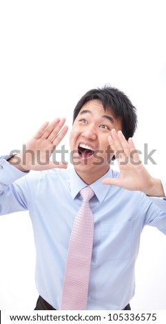 Closeup portrait of a young business man screaming out loud isolated on white background, model is a asian people - stock photo