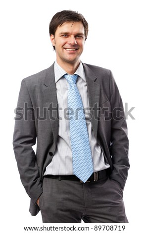 Closeup portrait of a young businessman in suit, isolated on white background - stock photo