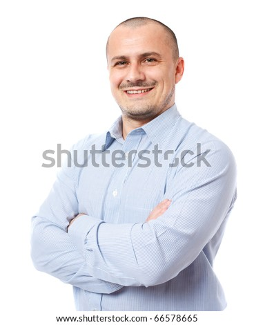 Closeup portrait of a young businessman isolated on white - stock photo