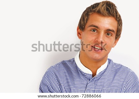 Closeup portrait of a young college student isolated on white - stock photo