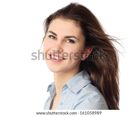 Closeup portrait of a young girl , isolated on white background - stock photo