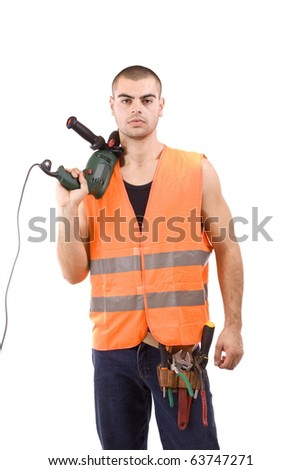 Closeup portrait of a young man whit drillmachine, isolated in white