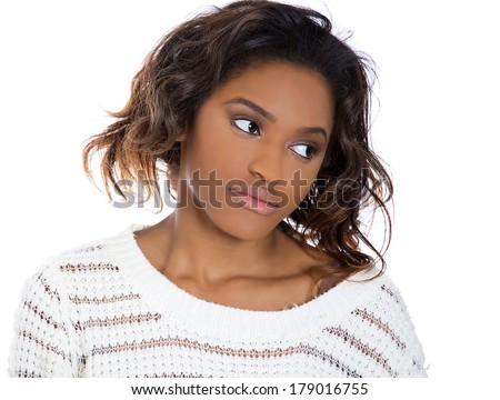 Closeup portrait of a young, unhappy, flustered, stressed woman looking down away, daydreaming in frustration, isolated on a white background. Negative human emotions facial expression feelings. - stock photo