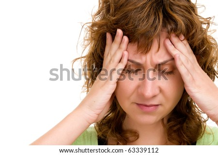 Closeup portrait of a young woman having a headache - stock photo