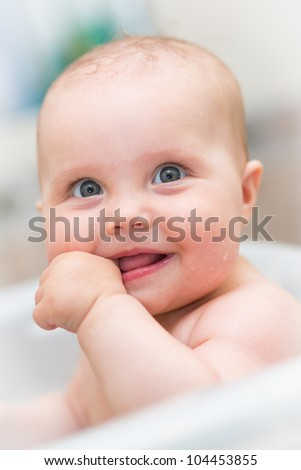 closeup portrait of adorable baby - stock photo