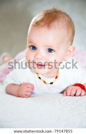 closeup portrait of adorable baby - stock photo