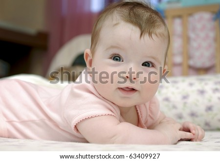 Closeup portrait of adorable baby girl - stock photo