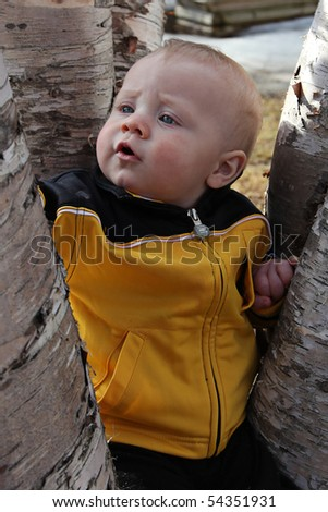 Closeup portrait of adorable baby outside in spring