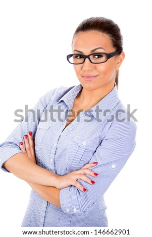 Closeup portrait of adorable, beautiful businesswoman with glasses and blue shirt, arms folded, isolated on white background - stock photo