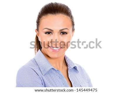 Closeup portrait of adorable, confident, businesswoman, isolated on white background with copy space - stock photo