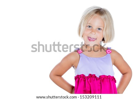 Closeup portrait of adorable cute girl with hands on hips, isolated on white background with copy space - stock photo