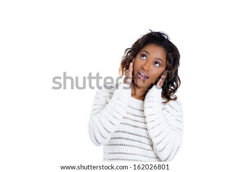 Closeup portrait of adorable smiling happy young woman shocked surprised looking to side with hands on cheeks, isolated on white background copy space. Positive human emotions facial expressions - stock photo