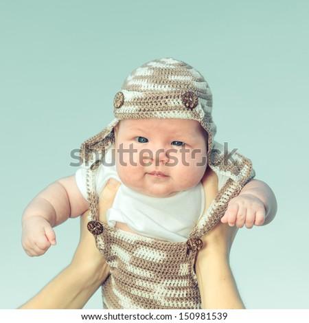 Closeup portrait of an adorable baby - stock photo