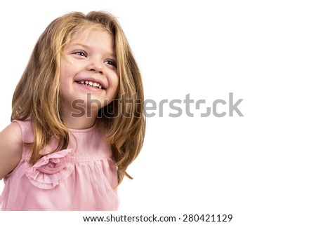 Closeup portrait of an adorable  happy girl isolated over white background - stock photo