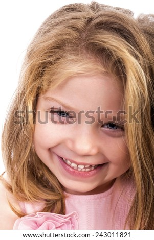 Closeup portrait of an adorable little girl isolated over white background - stock photo