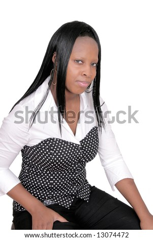 closeup portrait of an African American woman over white - stock photo