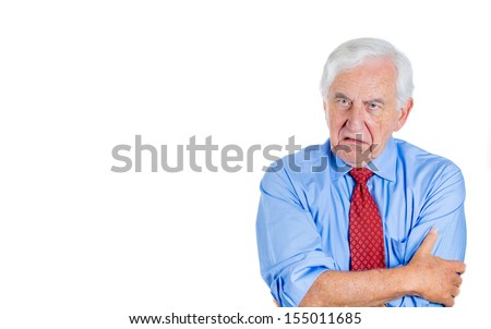 Closeup portrait of an angry, mad, annoyed senior businessman, corporate employee, retired man, isolated on white background with copy space. Human emotions and interpersonal conflict resolution. - stock photo