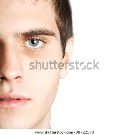 Closeup portrait of an attractive man with beautiful eyes - stock photo