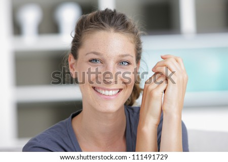Closeup portrait of an attractive young woman - stock photo