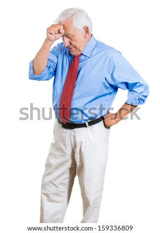 Closeup portrait of an elderly executive, old corporate employee, grandfather, senior man deep in thought, troubled with something, sad and concerned, isolated on a white background with copy space - stock photo