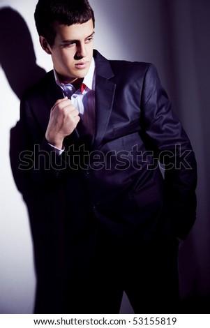 Closeup portrait of an elegant man - stock photo