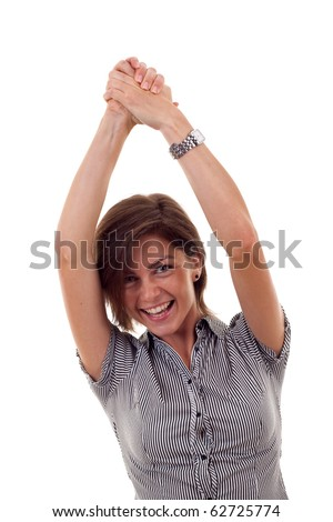 Closeup portrait of an excited young business woman rejoicing success with hands raised - stock photo