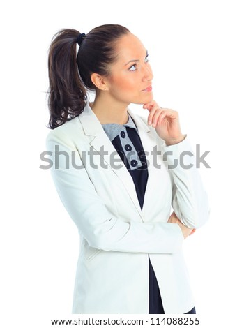 Closeup portrait of an excited young woman looking and thinking about copyspace - stock photo