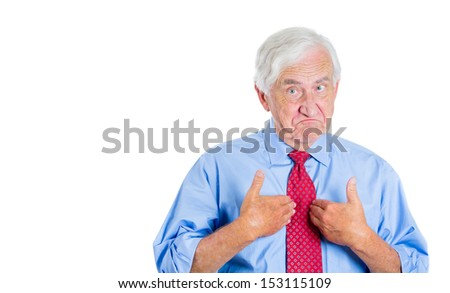 Closeup portrait of an executive, businessman, grandfather, senior man pointing at himself as if to say, you mean me, you talking to me? Isolated on white background with copy space - stock photo