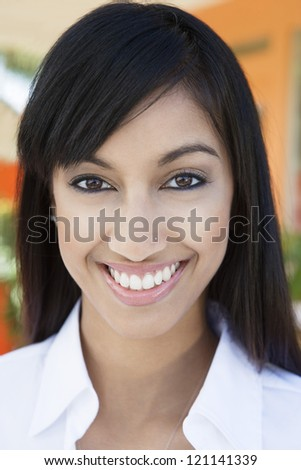 Closeup portrait of an Indian business woman smiling