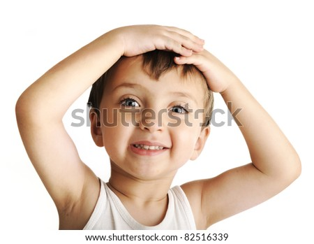 Closeup portrait of an innocent kid  giving you a cute smile - stock photo