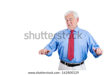 Closeup portrait of an old guy, displeased with situation senior executive, grandfather, with disgust expression on his face, something stinks, isolated on white background. Interpersonal conflict - stock photo