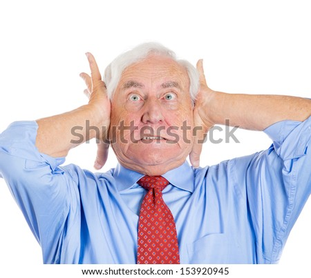 Closeup portrait of an old man, grandfather, corporate executive in  blue shirt and red tie covering his ears, headache from loud noise, isolated on white background.Conflict resolution. Human emotion - stock photo