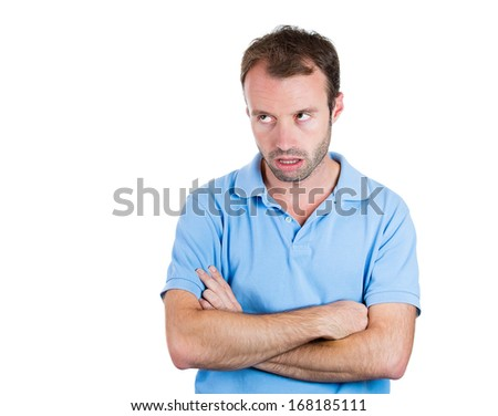 Closeup portrait of angry, annoyed, grumpy, mad man, isolated on white background. Human emotions, face expressions, feelings, attitude, personality, interpersonal conflict resolution, intelligence - stock photo