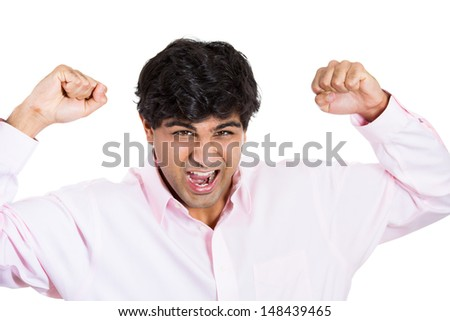 Closeup portrait of angry man, worker, employee, businessman, isolated on white background - stock photo