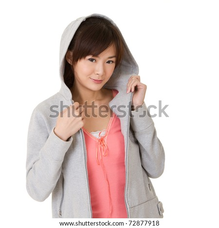 Closeup portrait of Asian beautiful girl on white background. - stock photo