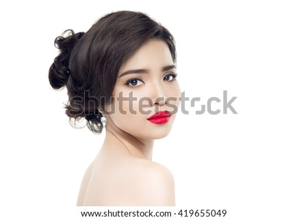 Closeup portrait of asian female with stylish makeup, luxury beauty salon, Valentine day, style and fashion concept.