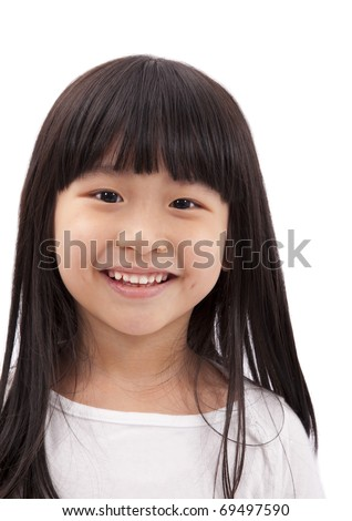 Closeup portrait of Asian little girl on white background - stock photo