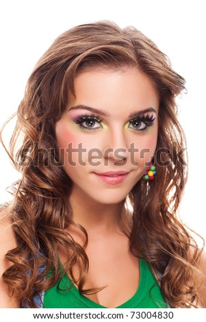 closeup portrait of attractive caucasian female on white - stock photo