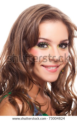 closeup portrait of attractive caucasian female with false eyelashes on white - stock photo