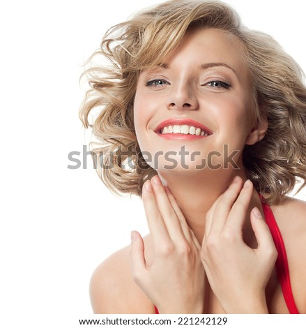 closeup portrait of attractive  caucasian smiling woman blond isolated on white studio shot lips toothy smile face hair head and shoulders looking at camera blue eyes tooth - stock photo