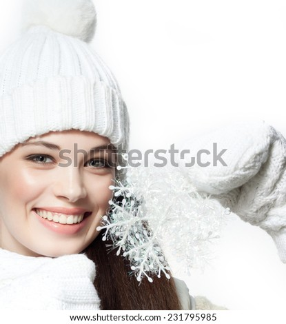 closeup portrait of attractive  caucasian smiling woman brunette isolated on white studio shot toothy smile face hair head and shoulders looking at camera warm clothing winter christmas - stock photo
