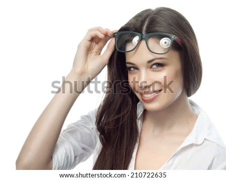 closeup portrait of attractive  caucasian smiling woman brunette isolated on white studio shot lips toothy smile face hair head and shoulders looking at camera tooth glasses businesswoman