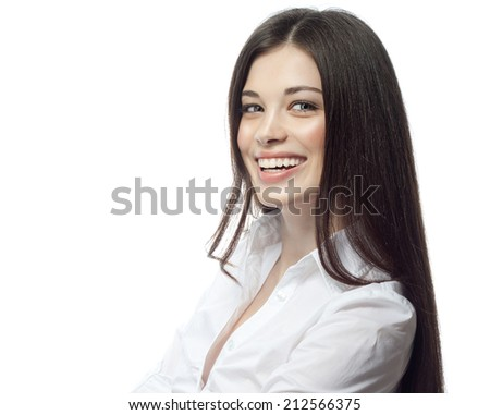 closeup portrait of attractive  caucasian smiling woman brunette isolated on white studio shot lips toothy smile face hair head and shoulders looking at camera businesswoman